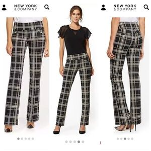 High-Waisted Pull-On Straight-Leg Plaid Pants